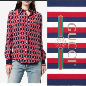 🥳HP🥳Gucci Rhombus silk printed blouse